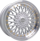 "Dare RS Silver Polished - Gold Rivets 15""(D15804100-108SGDRS15-Dare-15-4x100-15-8)"